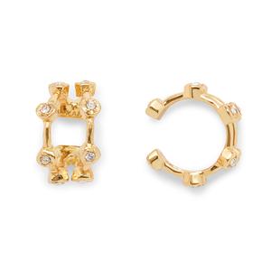 Luv AJ Pavé Hex Ear Cuff in Gold