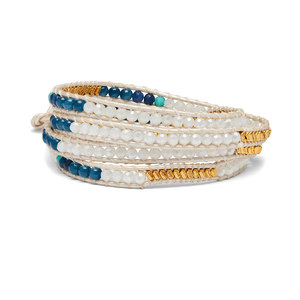 Nakamol Blue, Gold and Pearl Wrap Bracelet