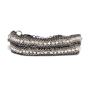 Nakamol Convertible Wrap Bracelet and Choker in Gunmetal and Silver