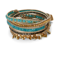 Nakamol Fringe Wrap Bracelet in Gold and Turquoise