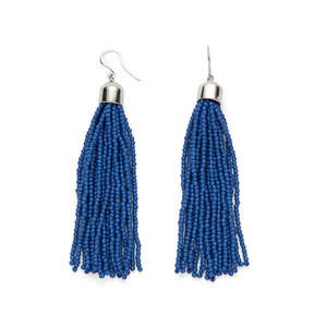 WILDE Sayulita Fringe Earrings in Silver and Cobalt