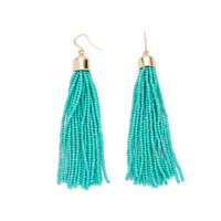WILDE Sayulita Fringe Earrings in Gold and Turquoise