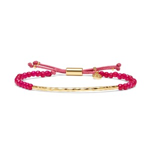 Gorjana Power Gemstone Bracelet in Pink Jade and Gold