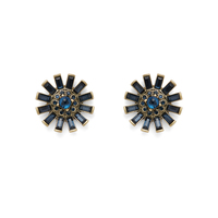 Perry Street Aster Statement Studs in Gold and Navy