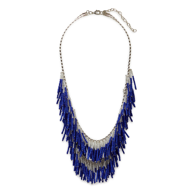 WILDE Alpinia Necklace in Silver and Cobalt