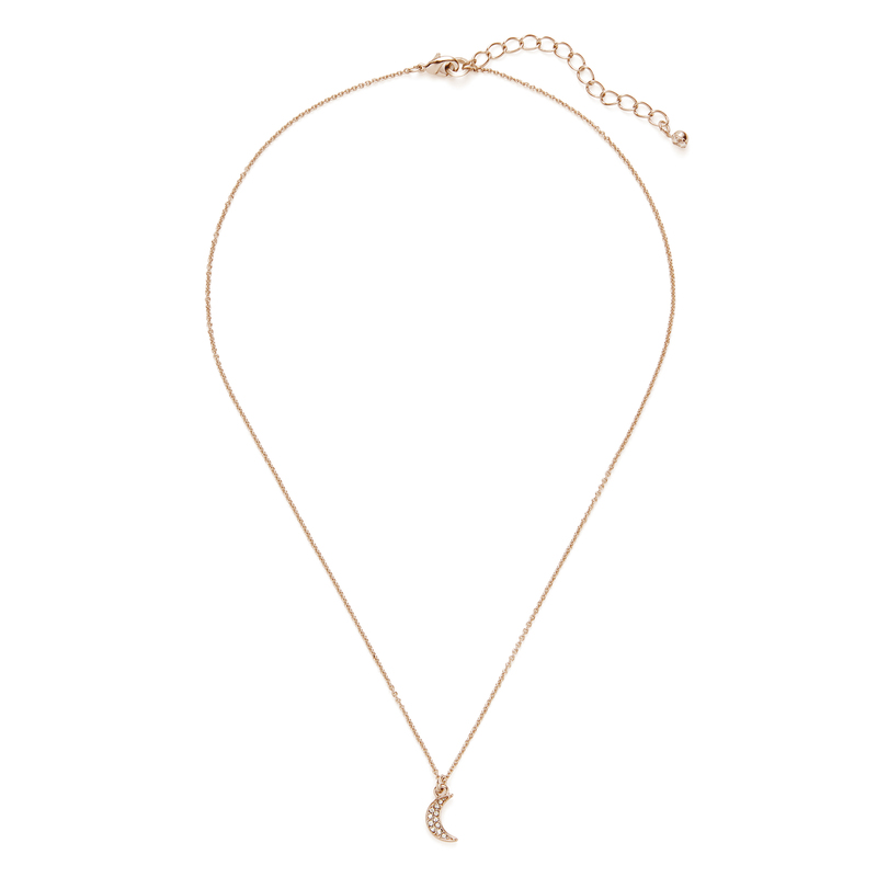 Sophie Harper Pave Moon Pendant Necklace in Gold