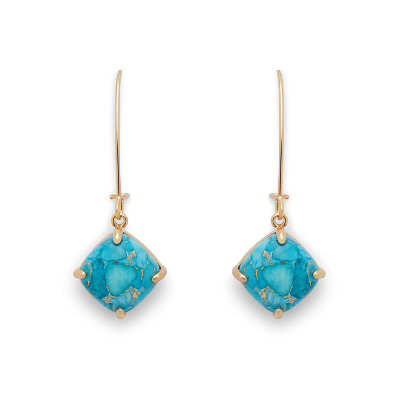 Ava Rose Berkeley Earrings in Gold and Copper Turquoise