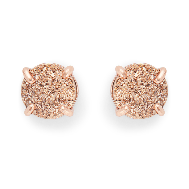 Ava Rose Charlotte Studs in Rose Gold and Rose Gold Druzy