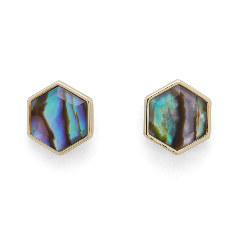 Ava Rose Madi Studs in Gold and Abalone