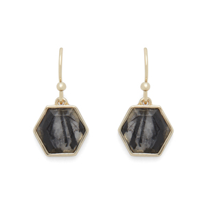 Ava Rose Madison Earrings in Gold and Rutilated Quartz
