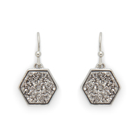 Ava Rose Madison Earrings in Silver and Platinum Druzy