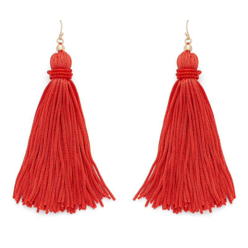 Perry Street Nova Fringe Earrings in Hot Coral