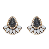 Perry Street Emma Statement Studs in Black and Howlite