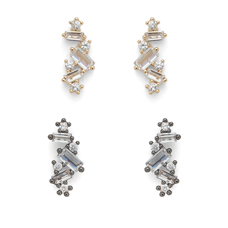Sophie Harper Gold and Gunmetal Crystal Clusters Stud Pack