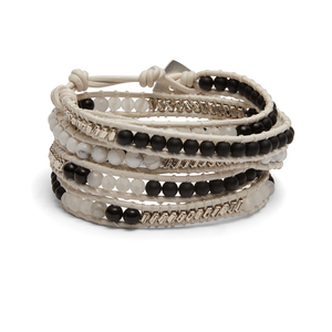 Nakamol Black and White Howlite Wrap Bracelet