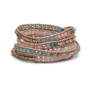 Nakamol Chalcedony and Rose Quartz Wrap Bracelet