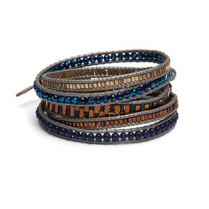 Nakamol Navy and Gold Wrap Bracelet