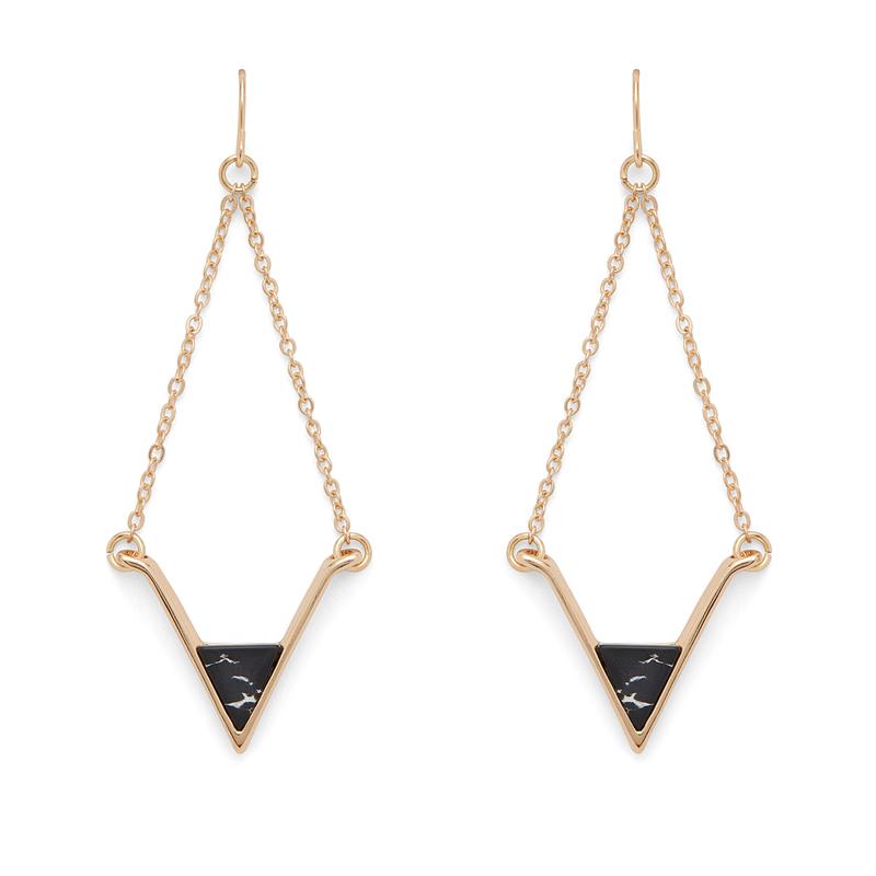 SLATE Teagan Drop Earrings in Gold and Black Howlite