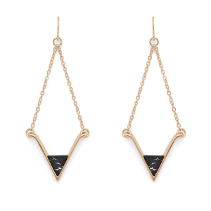 SLATE Teagan Drop Earrings in Gold and Black Howlite