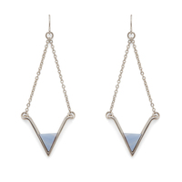 SLATE Teagan Earrings in Silver and Blue Lace Agate