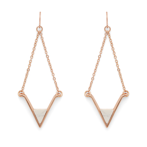 SLATE Teagan Earrings in Rose Gold and White Howlite