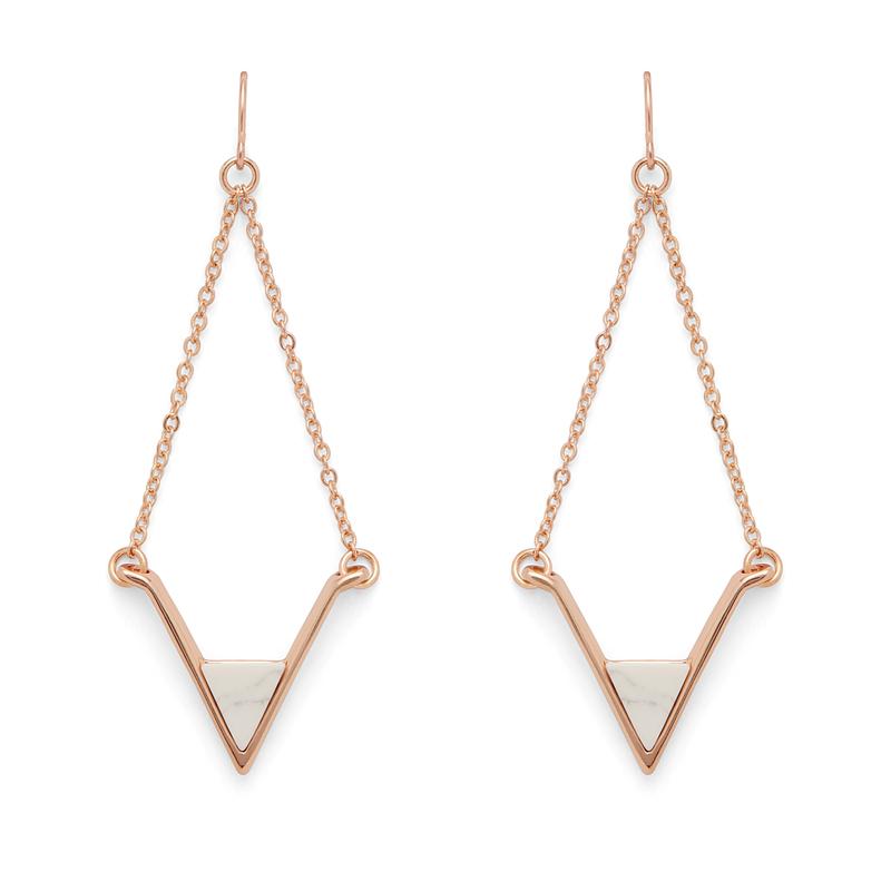 SLATE Teagan Earrings in Rose Gold and White Howlite