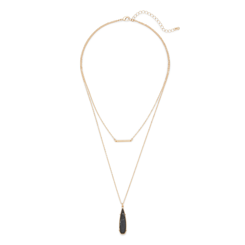 SLATE Rowan Layered Necklace in Gold and Black Howlite