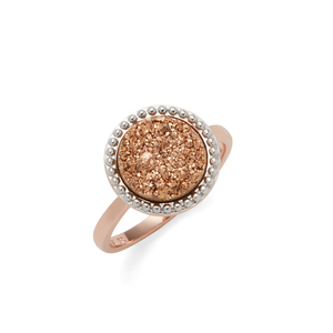 Ava Rose Cheyenne Ring in Rose Gold with Rose Gold Druzy