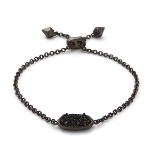 Kendra Scott Elaina Bracelet in Gunmetal and Black Drusy