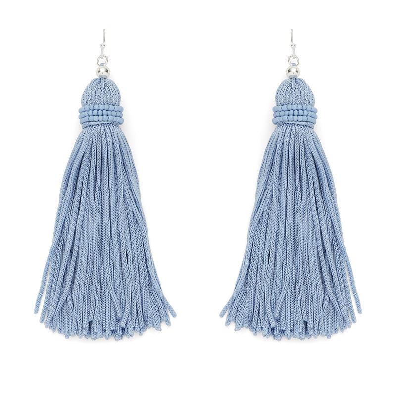 Perry Street Nova Fringe Earrings in Dusty Blue