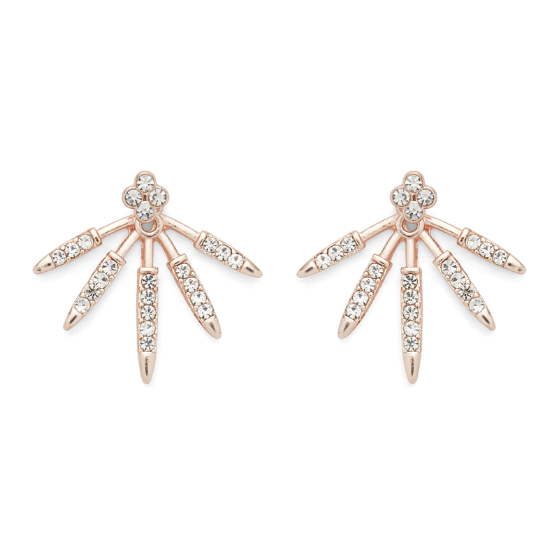 SLATE Pavé Burst Ear Jackets in Rose Gold