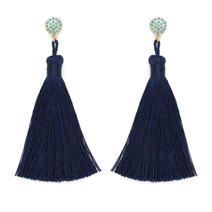 Aster Irina Tassel Earrings in Navy