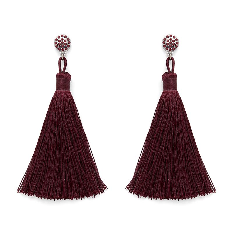 Aster Irina Tassel Earrings in Burgundy