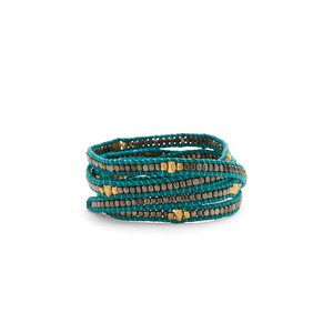 Nakamol Teal Wrap with Gunmetal and Gold Beads