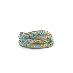 Nakamol Iridescent Turquoise Beaded Wrap