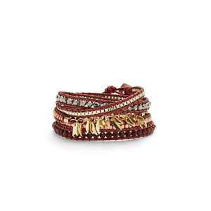 Nakamol Fringe Wrap Bracelet in Gold and Burgundy