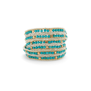 Nakamol Turquoise, Gold and Silver Beaded Wrap