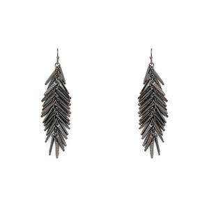 SLATE Myles Fringe Drop Earrings in Gunmetal