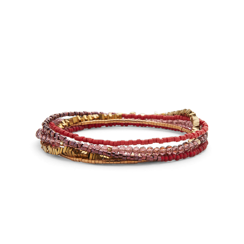 WILDE Cairo Five Times Wrap Bracelet in Berry