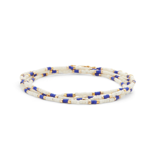 WILDE Maldives Four Times Wrap Bracelet in Blue & White