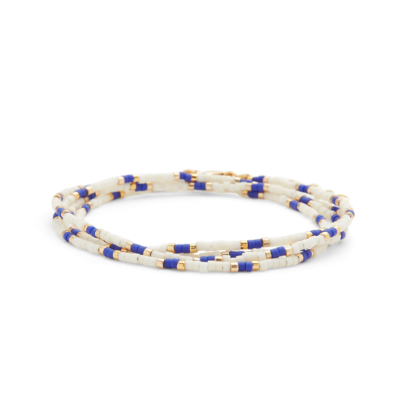 WILDE Maldives Four Times Wrap Bracelet in Blue & White