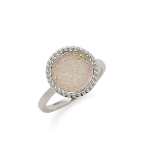 Ava Rose Cheyenne Ring in Silver with Iridescent Druzy