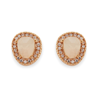 Aster Lupine Pavé Studs in Gold and Moonstone