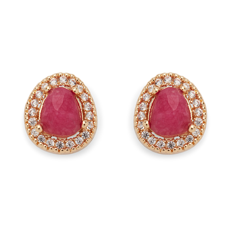 Aster Lupine Pavé Studs in Gold and Berry