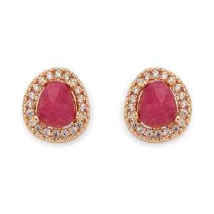 Aster Lupine Pavé Studs in Gold and Very Berry