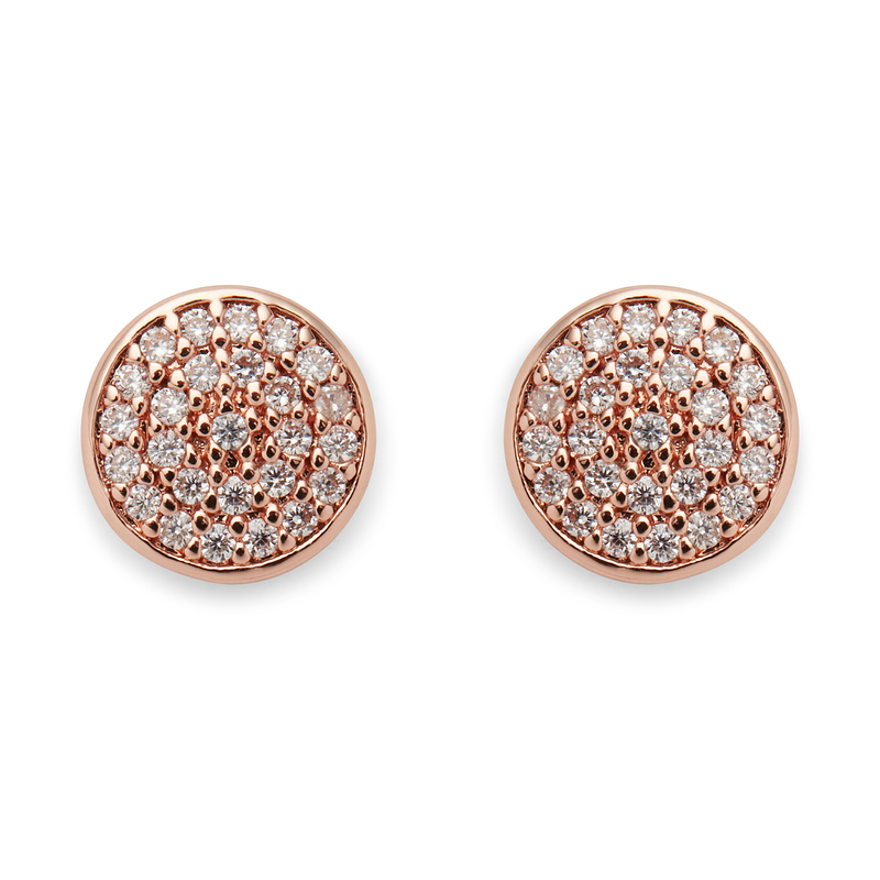 Sophie Harper Pavé Disc Earrings in Rose Gold