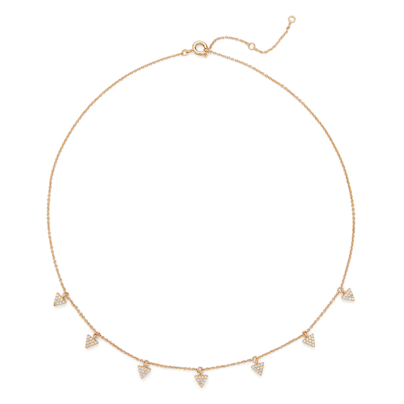 Sophie Harper Triangle Pavé Charm Necklace in Gold