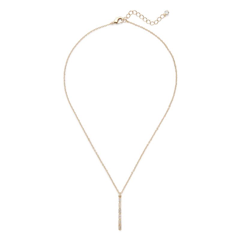 Sophie Harper Vertical Baguette Necklace in Gold