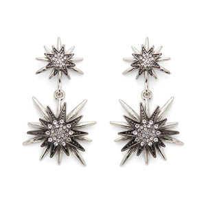 Aster Linnea Earrings in Silver and Gunmetal