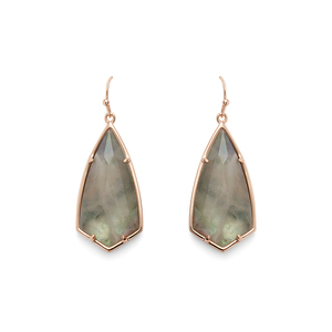 Kendra Scott Carla Earrings in Rose Gold and Black Crystal
